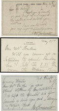 "Autographs:Celebrities, Sara D. Roosevelt: Lot of Three Autograph Items Signed ""S. D.Roosevelt"".. -November 25, 1932, June 1, 1936. Hyd... (Total: 3Items)"