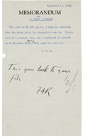 """Autographs:U.S. Presidents, Franklin D. Roosevelt: Typed Note With Autograph Endorsement Signed""""FDR"""" as New York Governor.. -September 17, ..."""
