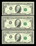 Error Notes:Blank Reverse (<100%), Fr. 2028-B $10 1988A Federal Reserve Notes. Three ConsecutiveExamples. Very Choice Crisp Uncirculated.. ...