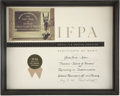 Movie/TV Memorabilia:Awards, Glenn Ford's IFPA Certificate of Merit....