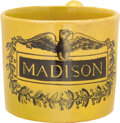 Political:3D & Other Display (pre-1896), James Madison: Rare Early Canary Mug With Handle, One of the FewAvailable Display Items for the Fourth President....
