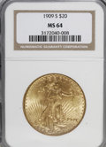 Saint-Gaudens Double Eagles: , 1909-S $20 MS64 NGC. NGC Census: (1297/216). PCGS Population(1451/236). Mintage: 2,774,925. Numismedia Wsl. Price for NGC/...