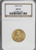 Liberty Half Eagles: , 1894-S $5 AU55 NGC. NGC Census: (36/64). PCGS Population (14/21).Mintage: 55,900. Numismedia Wsl. Price for NGC/PCGS coin ...