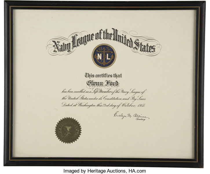 Glenn Ford\'s Navy League Membership Certificate.... Movie/TV | Lot ...