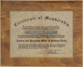 Movie/TV Memorabilia:Awards, Glenn Ford's Printer's Devil Membership Certificate....