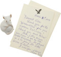 Movie/TV Memorabilia:Autographs and Signed Items, Glenn Ford's Porcelain Mouse with Signed Letter from Julie Harris.... (Total: 2 Items)