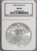 Modern Bullion Coins: , 2003 $1 Silver Eagle MS69 NGC. PCGS Population (8089/0). NumismediaWsl. Price for NGC/PCGS coin in MS6...