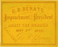 """Andrew Johnson Impeachment Trial Ticket. One pasteboard ticket, 3.5"""" x 3"""", printed in orange on yellow by Phil..."""