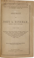 Books:Signed Editions, [Abraham Lincoln Assassination Trial] John A. Bingham: Argumentof John A. Bingham, Special Judge Advocate, in Reply to ...