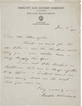Autographs:U.S. Presidents, Franklin D. Roosevelt: Autograph Letter Signed as Vice President of Fidelity and Deposit Company of Maryland.. -January 4, 1...