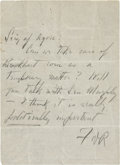 """Autographs:U.S. Presidents, Franklin D. Roosevelt: Autograph Note Signed """"FDR"""" asPresident.. -No date or place. One page. 4"""" x 5.5"""". In pe..."""