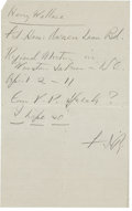 "Autographs:U.S. Presidents, Franklin D. Roosevelt: Autograph Note Signed ""FDR"" asPresident.. -No date or place. One page. 5"" x 8"". Lined pa..."