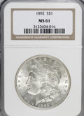 Morgan Dollars: , 1892 $1 MS61 NGC. NGC Census: (192/2103). PCGS Population (160/3575). Mintage: 1,037,245. Numismedia Wsl. Price for NGC/PCG...