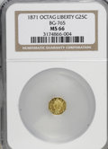 California Fractional Gold: , 1871 25C Liberty Octagonal 25 Cents, BG-765, R.3, MS66 NGC. NGCCensus: (1/0). (#10592)...