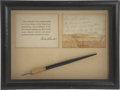 """Political:3D & Other Display (1896-present), Franklin D. Roosevelt: Fountain Pen Used to Sign 1933 Home Owners'Loan Act.. -June 13, 1933. 8"""", framed to 12"""" x 9"""".. -Pen ..."""