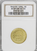 Territorial Gold: , (1837-42) $5 A. Bechtler Five Dollar, 128G. 22C. AU50 NGC. NGCCensus: (0/0). PCGS Population (3/6). (#10043)...