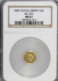 California Fractional Gold: , 1855 $1 Liberty Octagonal 1 Dollar, BG-533, Low R.4, MS61 NGC. NGCCensus: (5/2). PCGS Population (9/22). (#10510)...