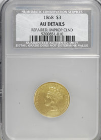 1868 $3 --Repaired-Improperly Cleaned--AU50 Details. NCS. NGC Census: (15/283). PCGS Population (34/205). Mintage: 4,850...