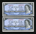 Canadian Currency: , BC-39a-i $5 1954 Two Examples.. ... (Total: 2 notes)