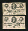 Confederate Notes:1864 Issues, T72 50 Cents 1864 Two Consecutive Examples.. ... (Total: 2 notes)