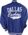 Football Collectibles:Uniforms, Early 1990s Dallas Cowboys Players Jacket. Russell Athletic blue nylon Dallas Cowboys players sideline jacket. Size large....