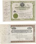 Autographs:Others, 1941-42 New York Yankee Minor League Stock Certificates Lot of 2.Stock certificate for five shares of stock in the Bingham...