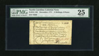 North Carolina December, 1771 2s/6d PMG Very Fine 25. This denomination comes with two different vignettes, the house va...