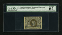 Fr. 1233 5c Second Issue PMG Choice Uncirculated 64 EPQ. All four margins are over 1mm on this example. Bronzing is almo...