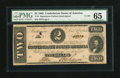 Confederate Notes:1862 Issues, T54 $2 1862. This Deuce is fully framed by margins. PMG GemUncirculated 65....