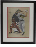 "Autographs:Others, 1992 Mark McGwire Signed Print. Fine artistic portrait of Big Mac during the ""Bash Brother"" days in Oakland is signed by th..."
