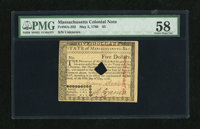 Massachusetts May 5, 1780 $5 PMG Choice About Unc 58, HOC. This is a beautiful note with a corner fold and the usual hol...