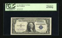 Fr. 1616 $1 1935G No Motto Silver Certificate. PCGS Superb Gem New 67PPQ. Bountiful margins are found on this $1 Silver...