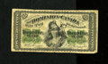 "Canadian Currency: , DC-1c 25¢ 1870 Very Good.. Someone penned ""$2.75"" vertically on theface of this note...."