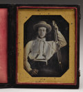 Photography:Daguerreotypes, Daguerreotype of a California 49er With Knife and Guns. Anexcellent daguerreotype of a California settler, recently remo...