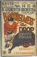 "Football Collectibles:Others, 1927 ""The Drop Kick"" Silent Movie Poster. Football themed filmposter is all the more desirable for its status as announcin..."