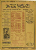 "Baseball Collectibles:Others, 1914 ""Mack's Official Score Card"" with Federal League Results.Unique card stock sign announces results of American, Nation..."