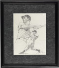 Baseball Collectibles:Others, Joe DiMaggio Original Pencil Drawing. Two great inset poses of theYankee Clipper in batting poses. Artist name, which we c...