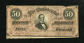 Confederate Notes:1864 Issues, T66 $50 1864. The bottom margin reveals a slice of the adjacent note. Fine....