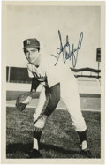 """Autographs:Post Cards, Sandy Koufax Signed Postcard. Signed 3 ½"""" x 5 ½"""" black & whitephoto postcard with black sharpie signature. LOA from PSA..."""