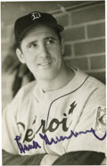 "Autographs:Post Cards, Hank Greenberg Signed Postcard. Black sharpie signature. 3 ½"" x 5½"" black & white George Brace Postcard Photo. LOA from..."