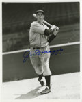 "Autographs:Photos, Joe DiMaggio Signed Photograph. Nice dark blue sharpie signature onthe offered 8x10"" black and white print. Portrays Joe i..."