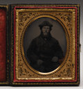Photography:Ambrotypes, An Ambrotype Studio Image of a Buffalo Hunter in A Buffalo Coat,ca. 1860s Very nice and hard to find cased one-sixth plate ...(Total: 1 Item)