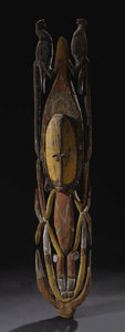 Oceanic: , Papua-New Guinea, Middle Sepik Area. Abelam. Open work Men's House Plaque. Wood, pigment. Height: 61 inches Width: 12 inch...