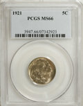 Buffalo Nickels: , 1921 5C MS66 PCGS. This Premium Gem has frosty gray surfaces with athin veil of gold toning on both sides. It is remarkabl...
