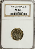 1938-D/D 5C Buffalo MS67 ★ NGC. This is a wonderful bluish-gray example with vivid gold and pale lilac toning on both si...