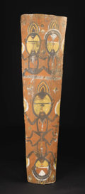 Paintings: , Papua-New Guinea, Middle Sepik Area. Abelam. Sago Palm Sheath Painting. Sago palm sheathing, pigment. Height: 59 ¾ inches W...
