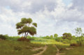 Texas:Early Texas Art - Regionalists, JOE G. RUSSELL (American, 20th Century). Country Landscape withClouds. Oil on canvas. 20 x 30 inches (50.8 x 76.2 cm). ...