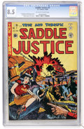 Golden Age (1938-1955):Western, Saddle Justice #7 (EC, 1949) CGC VF+ 8.5 Off-white to white pages....