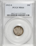 Barber Dimes: , 1912-S 10C MS64 PCGS. PCGS Population (55/23). NGC Census: (33/35). Mintage: 3,420,000. Numismedia Wsl. Price for NGC/PCGS ...