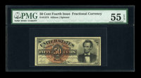 Fr. 1374 50c Fourth Issue Lincoln PMG About Uncirculated 55 EPQ